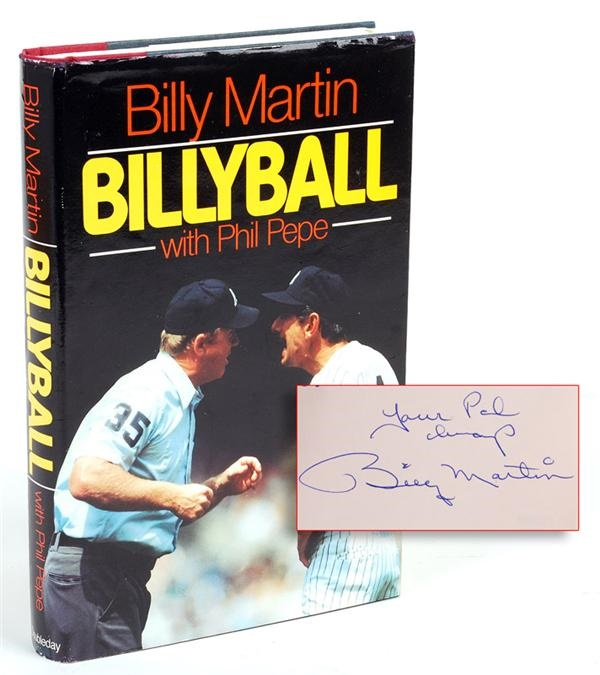 Billy Martin Signed and Inscribed Book To Mickey Mantle