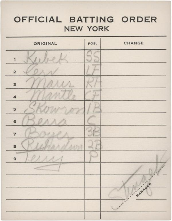 1960 New York Yankees Line-Up Card Signed by Casey Stengel