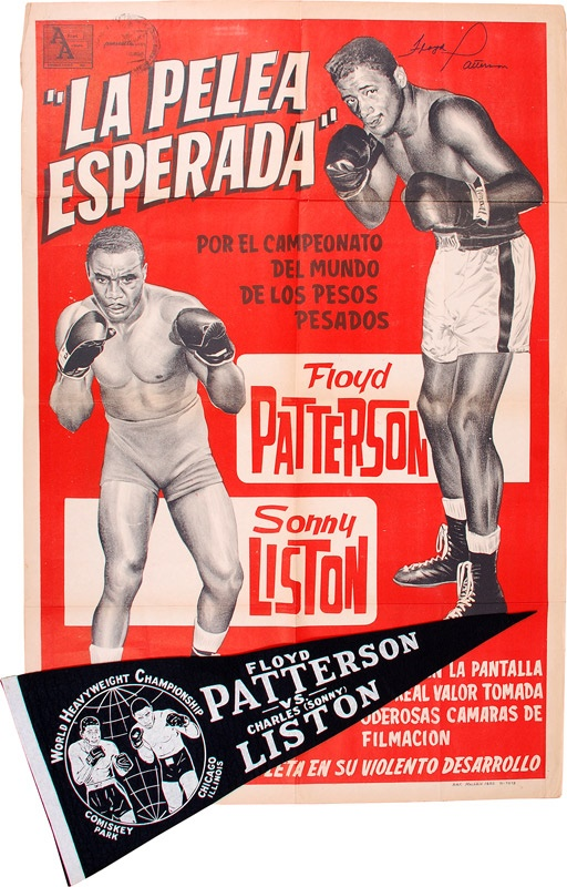 1962 Floyd Patterson vs. Sonny Liston Pennant and Fight Poster (2)