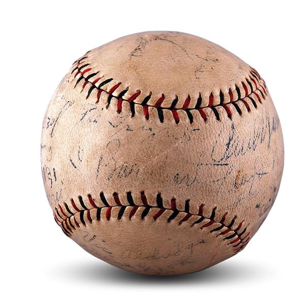 1927 World Series Game Used Baseball Signed by Both the NY Yankees and Pittsburgh Pirates