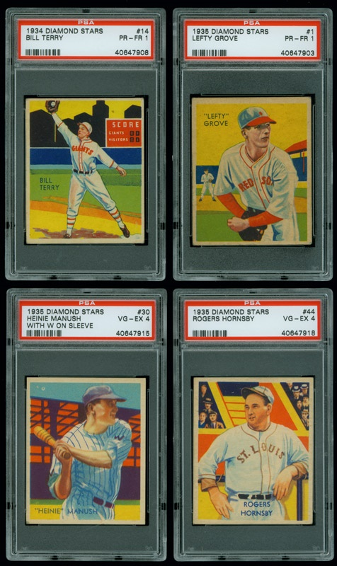 1934 35 Diamond Star Baseball Cards All Psa Graded 20