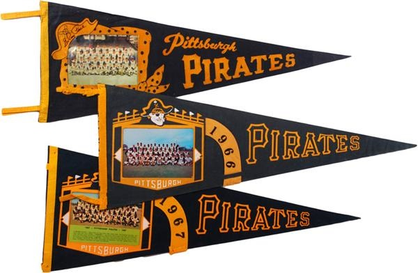 (3)1960-1967 Pittsburgh Pirates Picture Pennant
