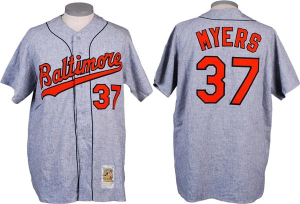 Greg Myers Game Used Baltimore Orioles Turn Back The Clock Flannel Jersey Circa 2000