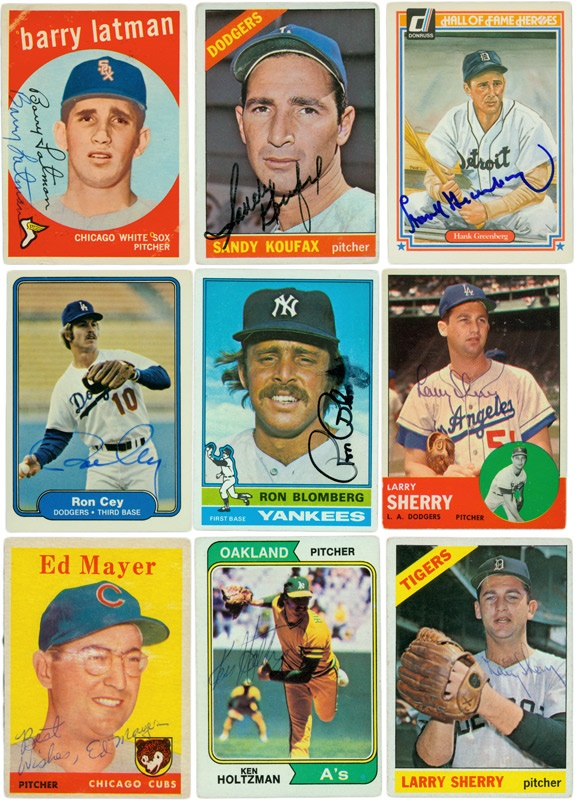 15 Jewish Player Autographed Baseball Cards W Koufax And