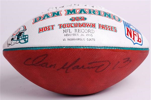 Dan Marino Signed Hand Painted Trophy Ball from 352 Touchdown Game