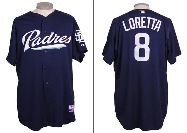 2004 Mark Loretta Padres Game Used 1 Year Style Batting Practice Jersey