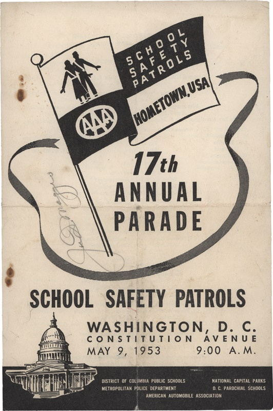 1953 Joe DiMaggio In Person Signed Program as Grand Marshall of Washington DC Parade