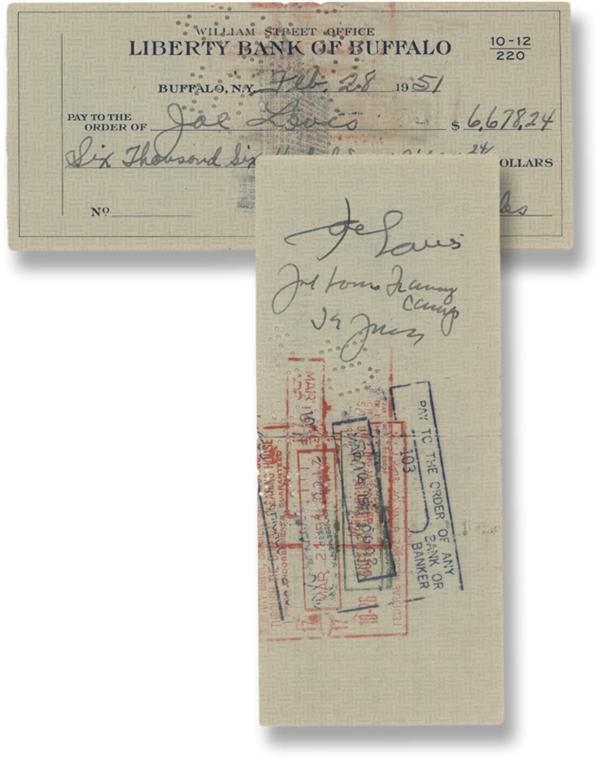 Joe Louis Signed/Endorsed Check (PSA/DNA)