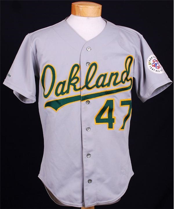 1987 Joaquin Andujar Oakland A's Road Game Used Jersey