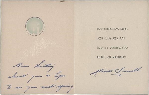 Rick Ferrell Signed Christmas Card (1936) PSA/DNA