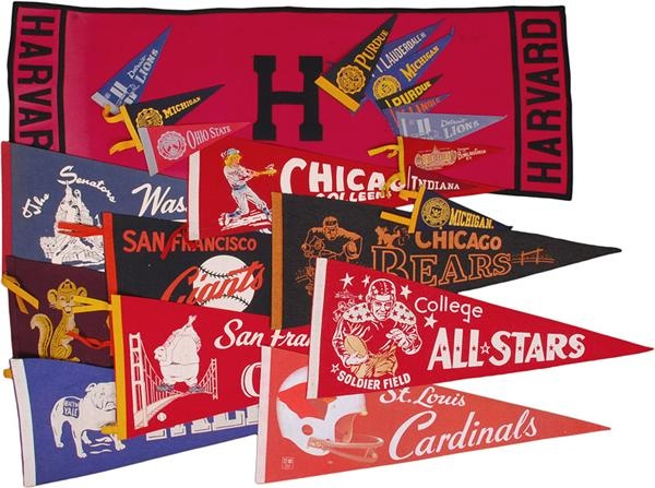 Collection of Vintage and Modern Sports Pennants (50+)