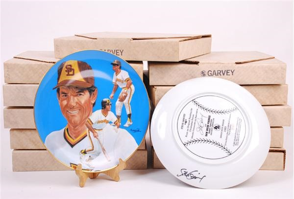 Steve Garvey Signed Padres Baseball Collectors Plates (11)