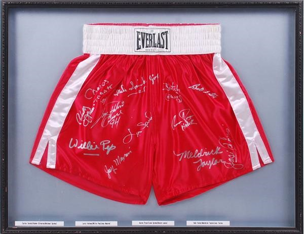 Boxing Hall of Famer Signed Trunks with 12 Signatures
