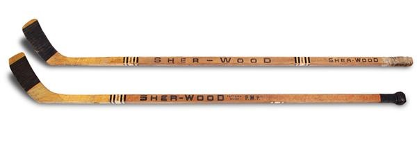 Bill Barber & Ross Lonsberry Philadelphia Flyers Game Used Sticks (2)