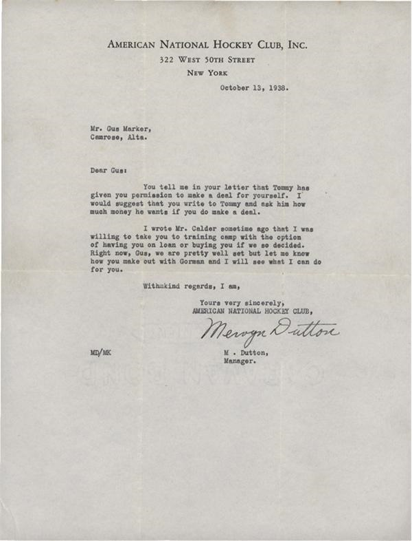 Red Dutton New York Americans Signed Letter (1938)