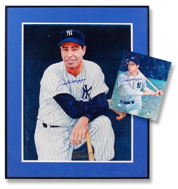 Joe DiMaggio Signed Print and 8 x 10'' Photograph (2)
