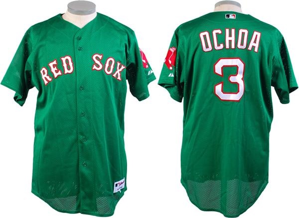 2007 Ochoa Boston Red Sox St Patricks Day Spring Training Game Used Jersey