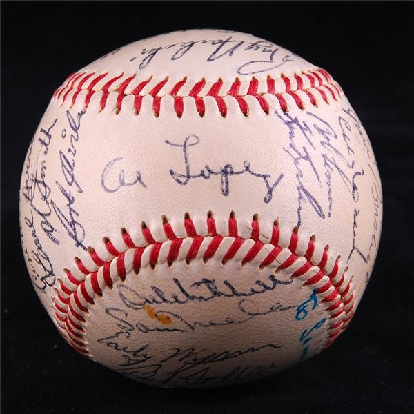 1956 Cleveland Indians Team Signed Baseball