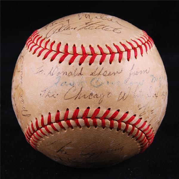 1949 Chicago White Sox Team Signed Baseball with 25 Signatures