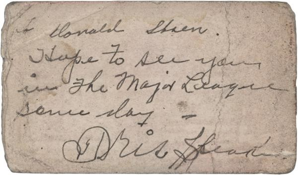 Tris Speaker Signed Business Card