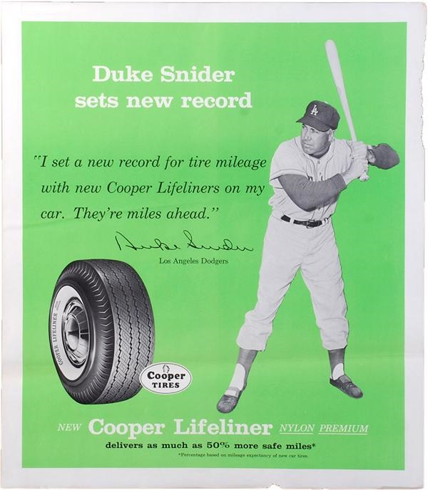 Circa 1960 Duke Snider Cooper Tires Advertising Poster