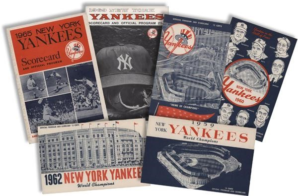 1958-1969 New York Yankees Programs with Mickey Mantle Day (6)