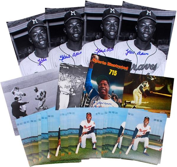 Hank Aaron Signed and Unsigned Photo Collection (200+)