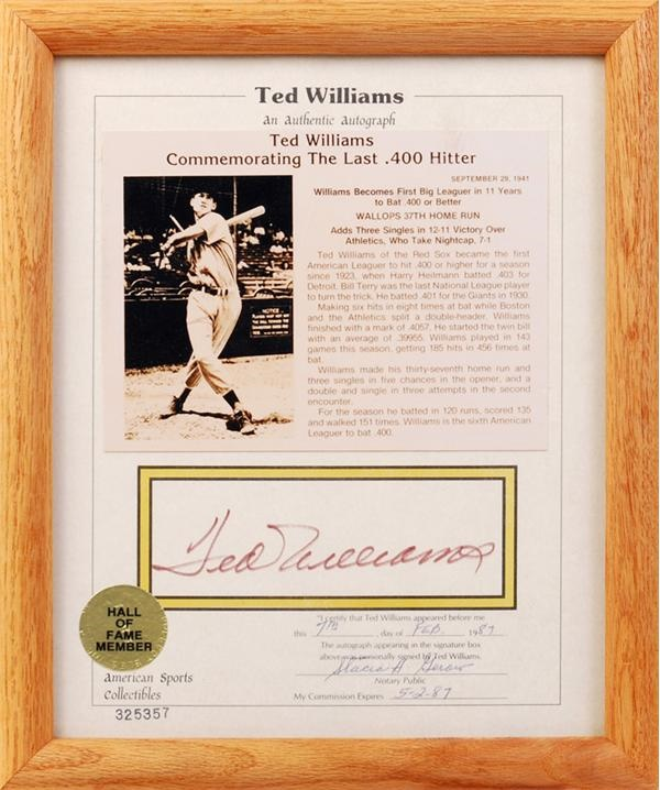Ted Williams Signed American Sports Collectibles Sheet