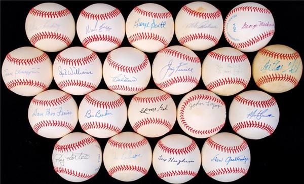 Boston Red Sox Old-Timers Single Signed Baseball Collection (20)