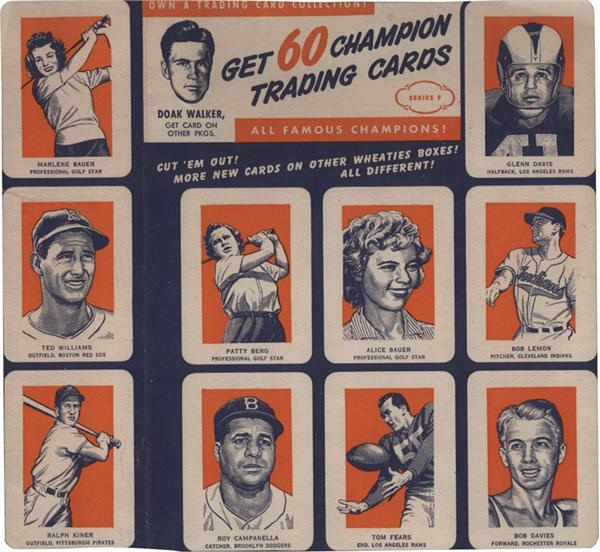 1952 Wheaties Trading Card Uncut Panel with Ted Williams and Campanella