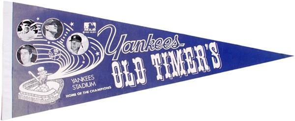 1970s New York Yankees Old-Timers Day Photo Pennant with Mantle, Ruth, Gehrig, Dimaggio