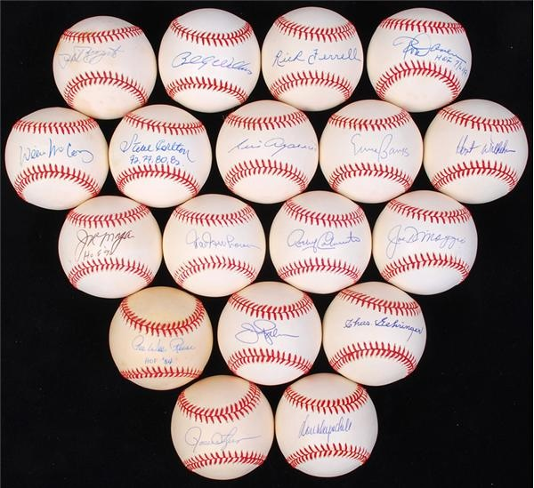 Baseball Hall of Famer and Key Player Single Signed Baseballs with DiMaggio (18)