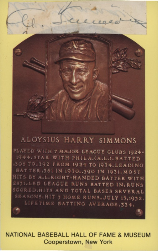 Al Simmons Signature on Gold HOF Plaque Postcard