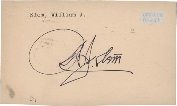 Bill Klem Signed Index Card