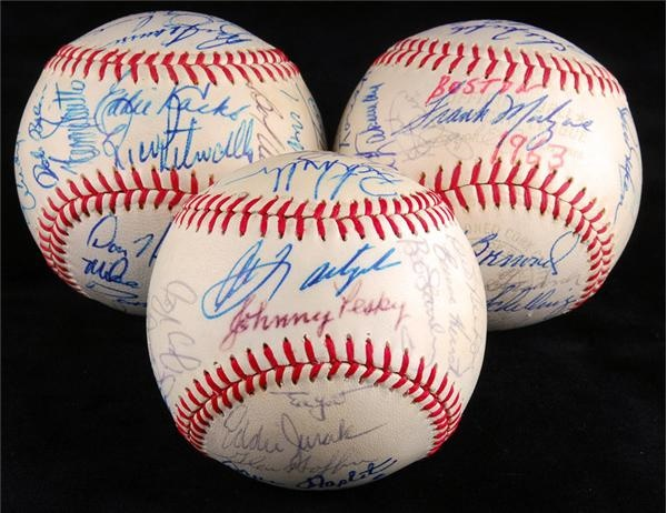 1963, 1973 and 1983 Boston Red Sox Team Signed Baseballs