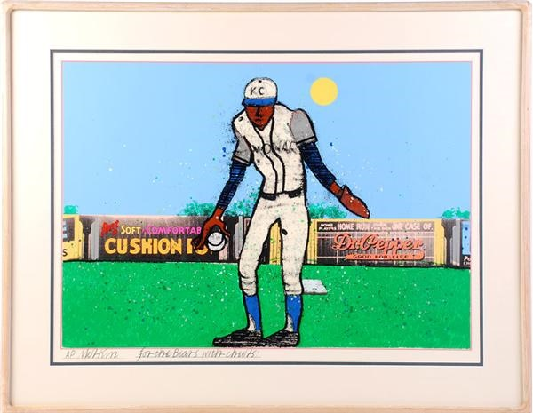 Negro League Satchel Paige Artist Proof Print by Richard Merkin
