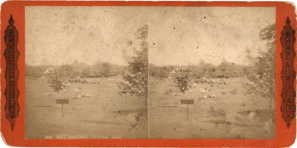 Circa 1890's New York City Central Park Base Ball Grounds Stereo Card