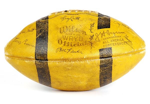 1949 Notre Dame National Champions Team Signed Football With Lujack and Hart