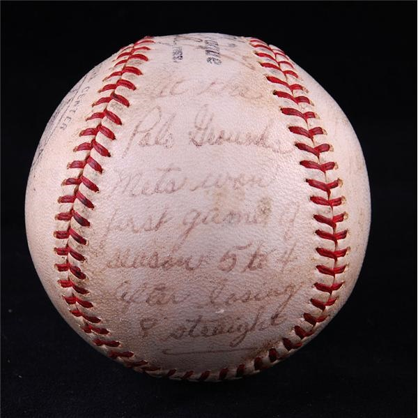 1963 New York Mets First Win Baseball Inscribed by Gil Hodges