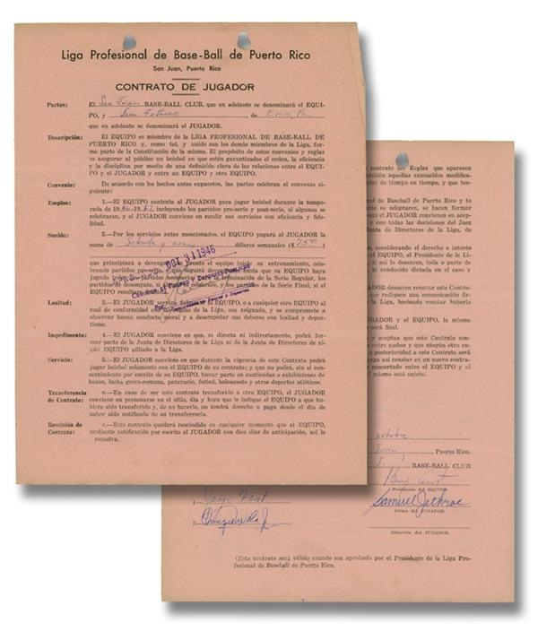 Negro Leaguer Sam Jethroe Signed Puerto Rican Players Contract (1946)
