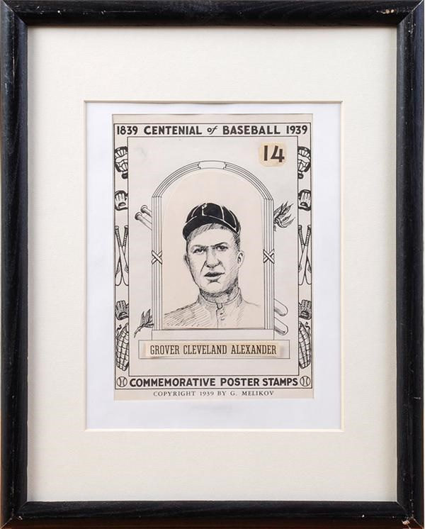 1939 Grover Alexander Commemorative Poster Stamp Original Artwork