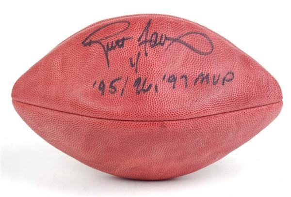 Brett Farve Signed NFL Football with MVP Inscription