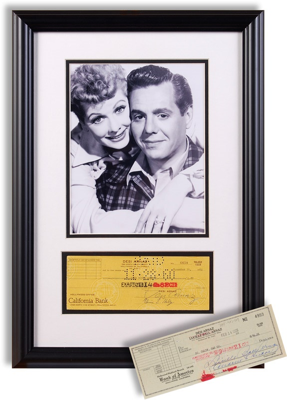 Lucille Ball and Desi Arnez Signed Check Display