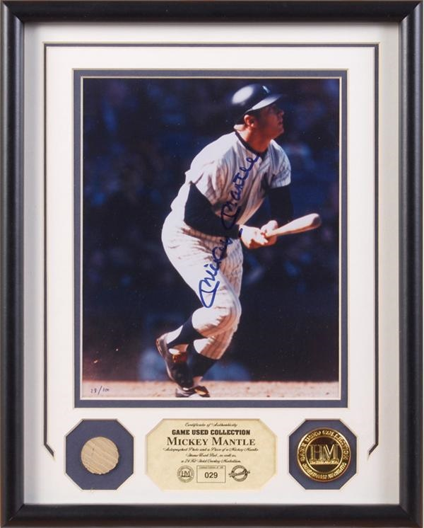 Mickey Mantle Ltd Ed Signed Photo w/ 1968 Game Used Bat Relic Display Highland Mint