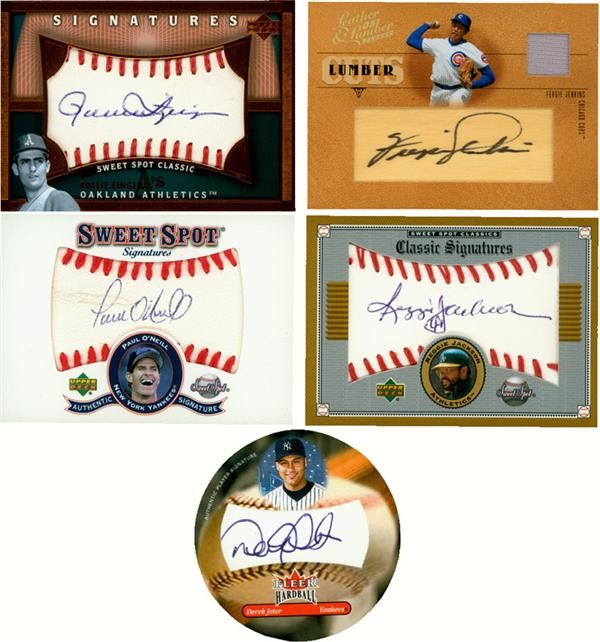Autographed Insert Cards with Baseball, Football and Basketball Stars and Hall of Famers (27)