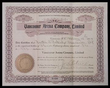 1914 Vancouver Millionaires Stock Certificate Signed By Frank Patrick