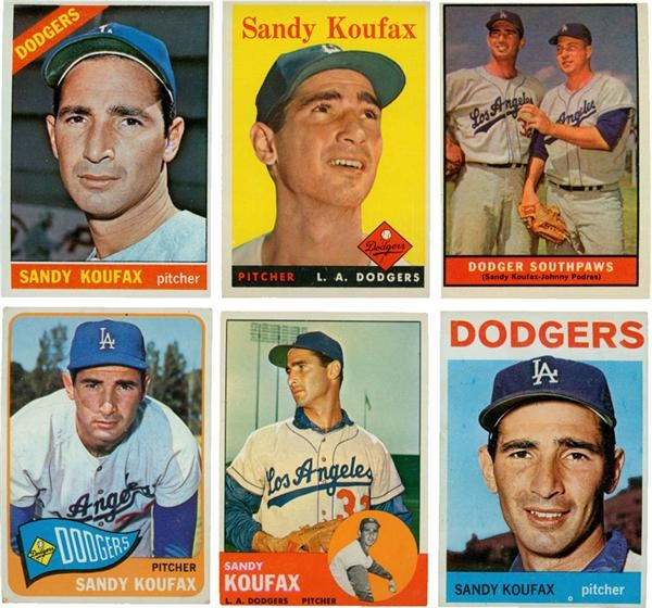 1956-1966 Sandy Koufax Baseball Cards (20)