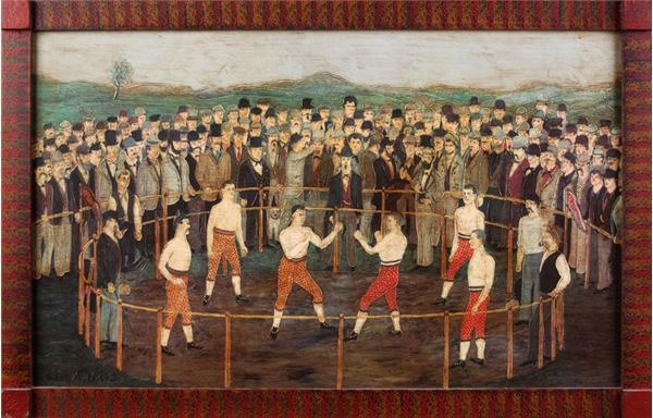 Early Boxing Folk Art of 1860's Match