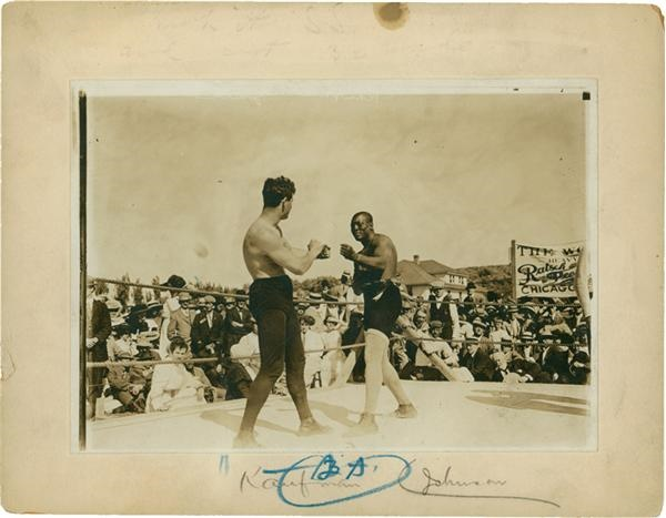 Jack Johnson vs Kaufman Boxing Cabinet Photo (1910)