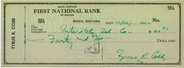 1952 Ty Cobb Signed Check
